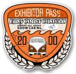 Aged Vintage 2000 Dated Car Show Exhibitor Pass Design Vinyl Car sticker decal  89x87mm